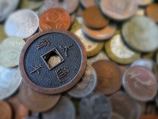 stará mince s dírou, drobné mince, Asie